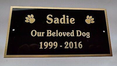 Dog Cat Pet Memorial Engraved Brass Plate - FREE Engraving