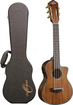 Oscar Schmidt OU100K Tenor 5 String Hawaiian Koa Ukulele with Case