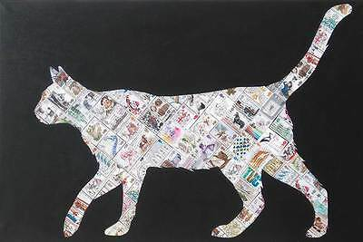 "NEW SUPERB GARY HOGBEN ORIGINAL  ""White Cat"" STAMPS POP PAINTING CANVAS"