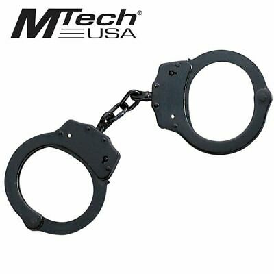 HANDCUFF SET | Mtech Professional Police Black Double Lock Real Steel w/ Keys