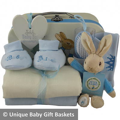 Baby gift basket/hamper 10 items Peter Rabbit packed case boy baby shower