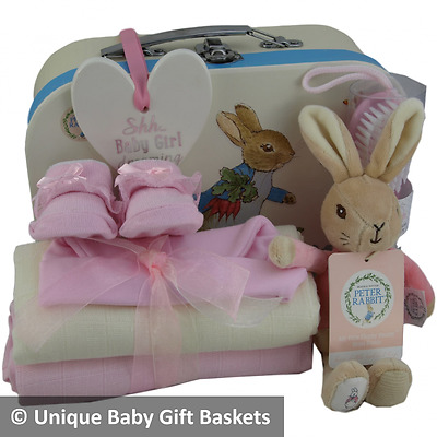 Baby gift basket/hamper 10 items Peter Rabbit packed case girl baby shower