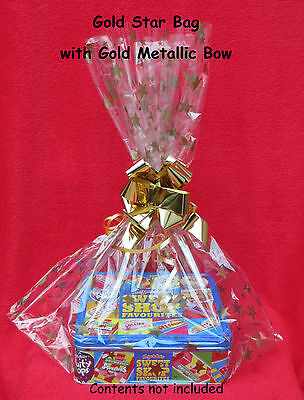 **CELLOPHANE HAMPER GIFT BAGS with OPT METALLIC PULL BOWS - XMAS,GIFT,PRESSIES**