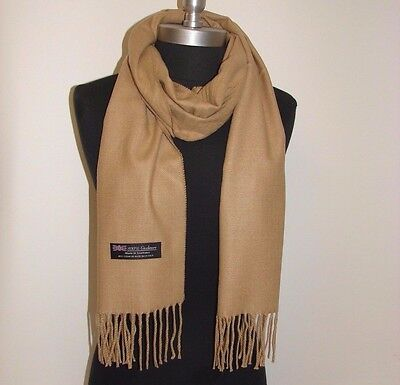 New 100% Cashmere Scarf Solid Camel Scotland Warm Wool Wrap #W204