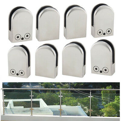 8 X Stainless Steel Glass Clamp Bracket Clip Holder for Balustrade Staircase