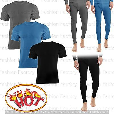 Mens Warm Winter Thermal Under Short Sleeve T-Shirt Long Johns Pants Full Suit