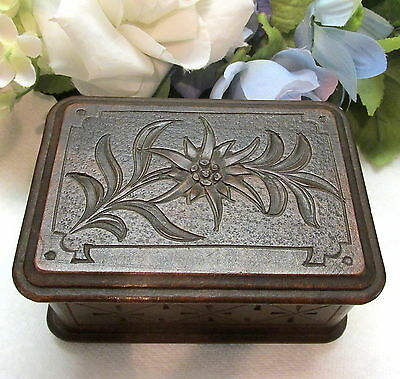 Sweet French Carved Victorian Wood Sewing Box Marked Depose