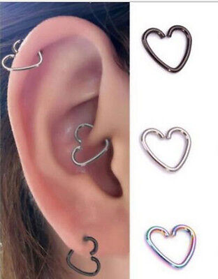 Surgical Steel Heart Ring Piercing Hoop Helix Cartilage Tragus Daith Earring CN