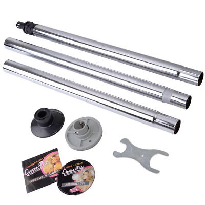 Silver Dance Pole Full Kit Portable Stripper Exercise Fitness Club Party Dancing