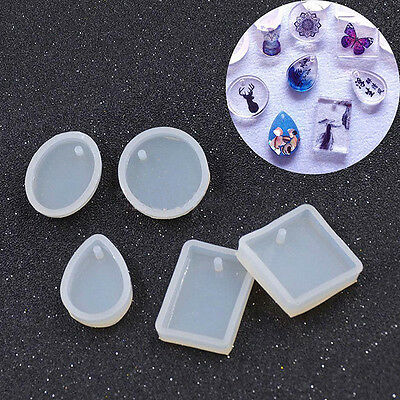New Silicone Mold DIY Jewelry Pendant Making Mould With Hanging Hole Geometric