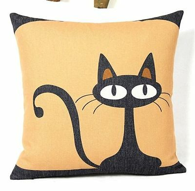 FD3252 Vintage Linen Pride Cat Throw Pillow Cases Cushion Cover Home Car Decor