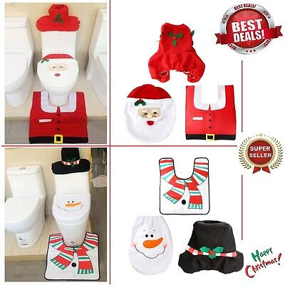 Christmas Decoration Snowman Santa Happy Toilet Seat Cover Bathroom RUG set Gift