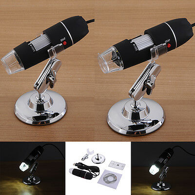 500X 1000X USB Digital Microscope 8LED 2MP Endoscope Zoom Camera Magnifier+Stand