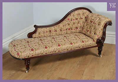Antique Victorian Mahogany Upholstered Chaise Longue Couch Settee Sofa Day Bed
