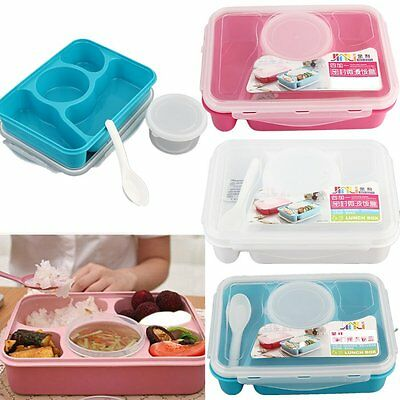 Microwave Bento Lunch Box + Spoon Utensils Picnic Food Container Storage Box MG