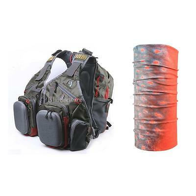 Fly Fishing Vest Pack Multi Pockets Tackle Bag Backpack + Fishing Scarf Headwear