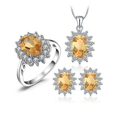 JewelryPalace Princess Diana Natural Citrine Jewelry Sets 925 Sterling Silver