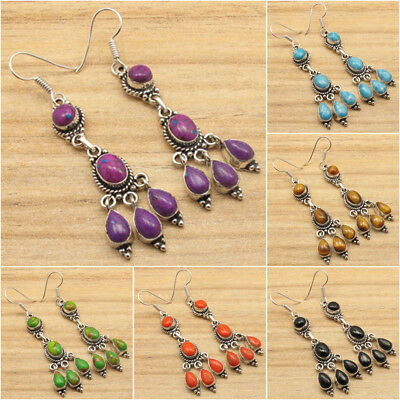 925 Silver Plated Authentic Gemstone CHOICES Ancient Style Earrings