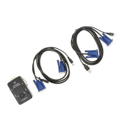 2 Port USB VGA KVM Switch with Cables Mouse Keyboard Monitor Plug & Play
