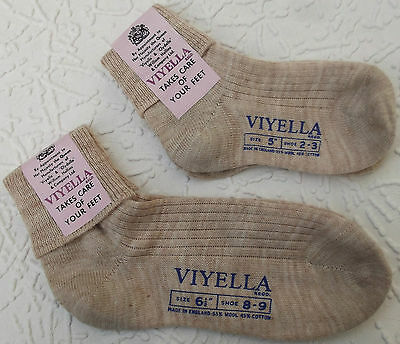Childrens school ankle socks Vintage 1960s VIYELLA boy girl FAWN rib UNUSED