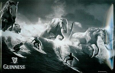 Guinness Surfers and Horses embossed metal sign  300mm x 200mm (hi)