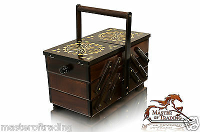 Great 30cm Decorated Dark Wooden Handcrafted Sewing Jewellery Box