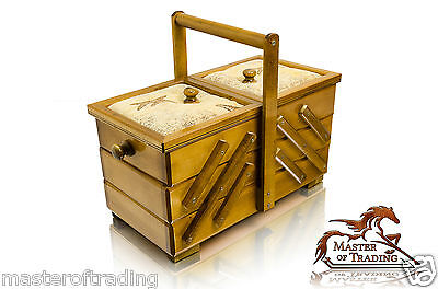 Beautiful 30cm Brown Pin Cushioned Wooden Handcrafted Sewing Jewellery Box