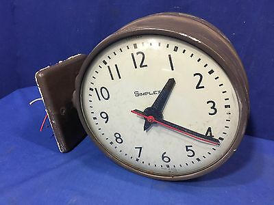"Vintage Simplex Dual Face 10"" Clocks & Wall Mount Industrial School House Slave"