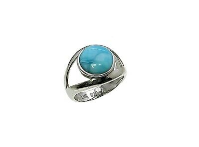 Larimar Beautiful 10mm Natural Solid .925 Sterling Silver Ring Size 7