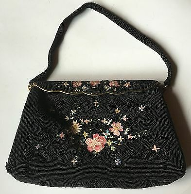 Vintage 1950s French Black Beaded Silk Floral Embroidered Ladies Purse Handbag