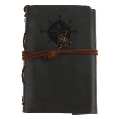 Gray PU Leather Cover Loose Anchor Blank Travel Notebook Journal Diary