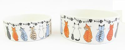Cat Ceramic Food Water Matching Bowl - 2 Sizes Sold as a Set of 2