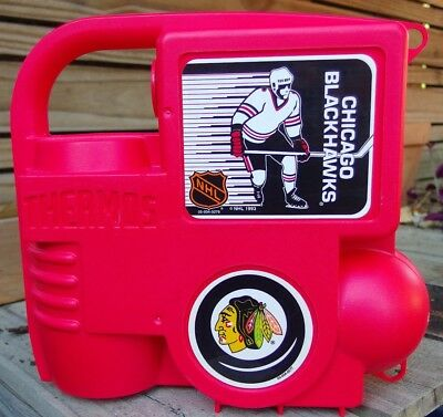 Extremely RARE NEW VINTAGE 1993 CHICAGO BLACKHAWKS THERMOS LUNCHBOX COMPLETE!!