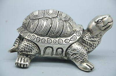 Folk Old China FengShui Silver Wealth Testudo Turtle Tortoise Statue Figurine NR