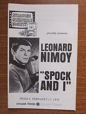 "1978 LEONARD NIMOY MR. ""SPOCK AND I"" PROGRAM Lecture Tour Syracuse, NY"