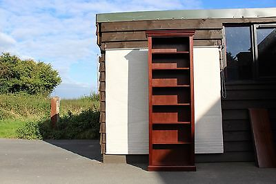 Neat Tall Mahogany open Bookcase with 6 shelves. Small Carved top cornice.