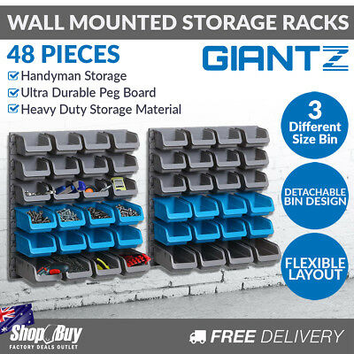 Wall Mounted 48 Bins Storage Rack Shed Workshop Garage Nail Screws Organiser
