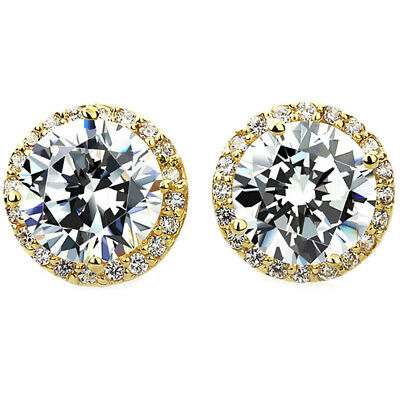 14k Yellow Gold Round Cut Cubic Zirconia Halo Setting Stud Earrings
