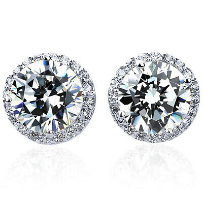 2438f34c0 14K WHITE GOLD Round Cut Cubic Zirconia Halo Setting Stud Earrings ...