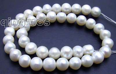 """SALE BIg 10-11mm high quality natural White round pearl Strand 15""""-los45"""