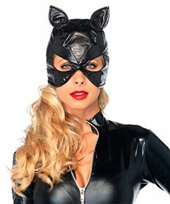 Ladies Wetlook Cat Face Catwoman Head Eye Mask PVC Black Halloween Accessory