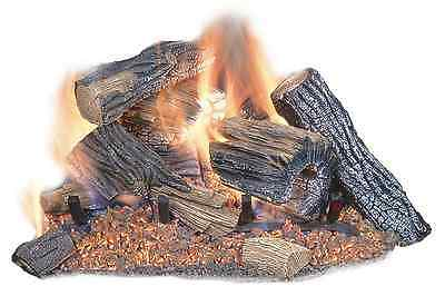 18 in. Gas Fireplace Logs Vented Propane Fire Log Realistic Dual Burner Natural