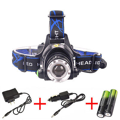 Zoomable 8000Lm CREE XML T6 LED Headlamp Head Light Torch 18650 Car/AC Charger