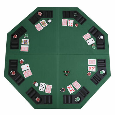 """New 48"""" Green Octagon 8 Player Four Fold Folding Poker Table Top & Carrying Case"""