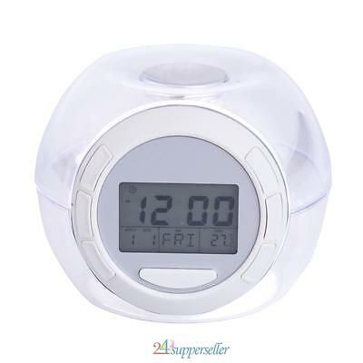 NEW 7 LED Change Colour Digital LCD Alarm Clock with Thermometer Calendar Snooze