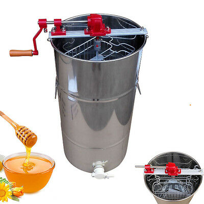 New 2 Frame Beekeeping Equipment Large Stainless Steel SS Honey Extractor US