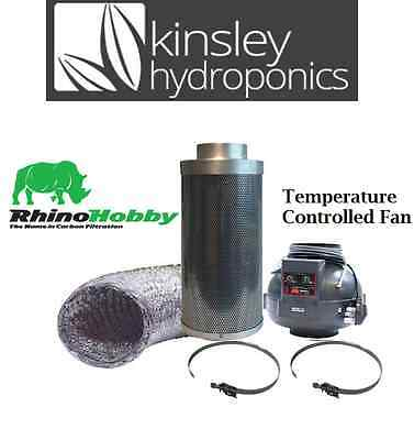 "6"" / 150mm Long Rhino Thermostatic Fan & Hobby Carbon Filter Ducting Hydroponics"