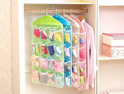 16 Pockets Door Wardrobe Hanging Organizer Socks Underwear Hanger Closet Storage