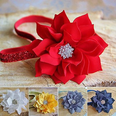 Christmas Baby Girl Glitter Elastic Headband Hair Band Holly Flower Sparkle