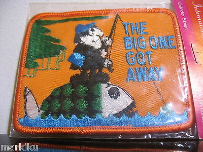 Vintage Fishing , The big one got away funny Patch Sew on International Insignia